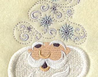 Santa Towel - Christmas Towel - Embroidered Towel - Flour Sack Towel - Hand Towel - Fingertip Towel