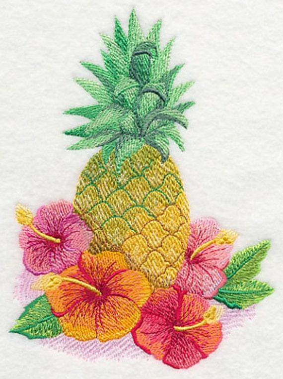 bestickte handtuch ananas ananas handtuch mehl sack etsy. Black Bedroom Furniture Sets. Home Design Ideas