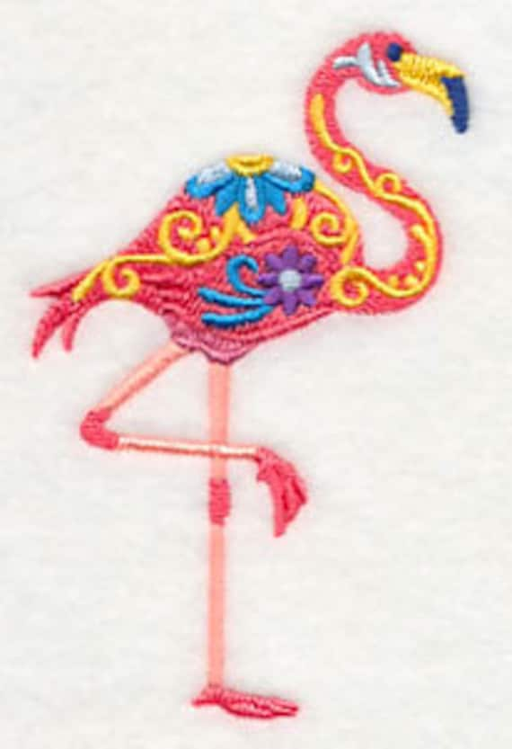Flower Power Embroidered Flamingo Hand Towel Home Embroidered