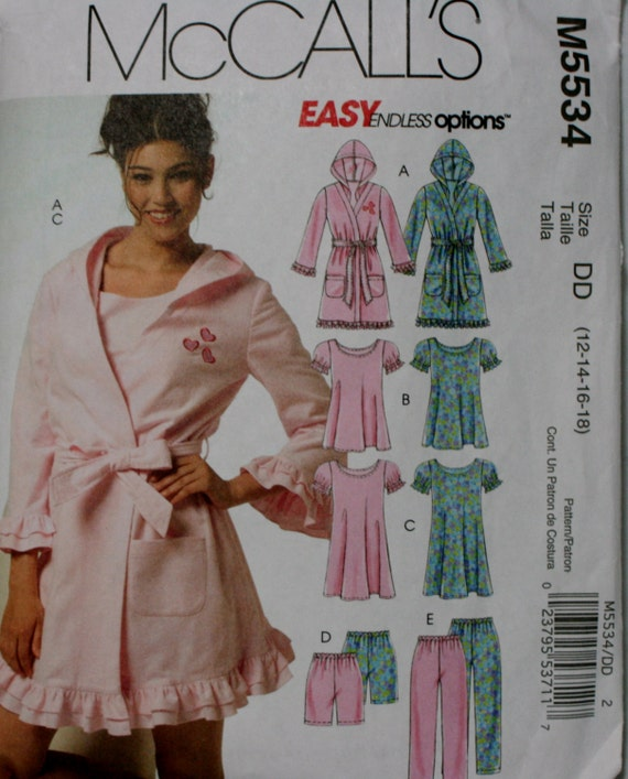 McCall s 5534 Misses Robe Nightgown and Pajamas Sewing  605d5e2c8