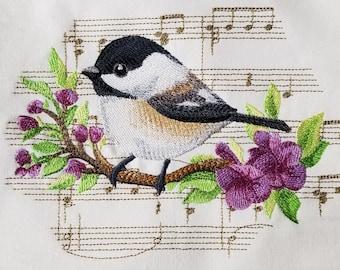 Chickadee Towel - Music Towel - Bird Towel - Flour Sack Towel - Hand Towel - Bath Towel - Apron