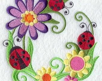 Ladybug Towel - Ladybug - Flower Towel - Embroidered Flour Sack Towel - Hand Towel - Bath Towel -Apron - Fingertip Towel