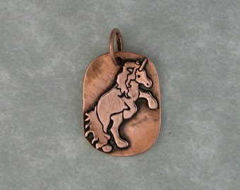 Unicorn recycled copper pendant charm DTPD