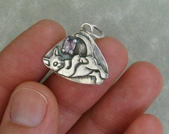 Kitten playing with purple sapphire fine silver cat pendant charm DTPD