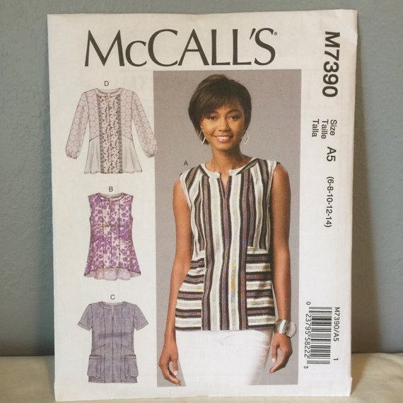 Mccalls Sewing Pattern M7390 Misses Semi Fitted Pullover Tops Etsy