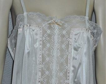 Vintage Bestform Ivory Nylon Lace Mini Slip Long Camisole Style #1496 Size 36
