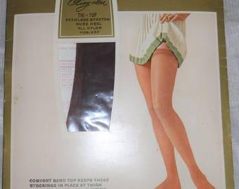 5634eb96d Vintage Sears Cling-alon Stockings New Mocha Ultra Sheer Thigh High Nylon  Thi Top Mesh Knit Shapely