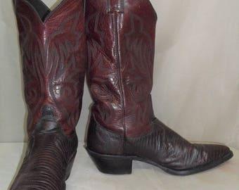 f53ff84506d5f Vintage lézard cuir exotique Cowboy Western femmes Justin bottes 7 1 2 b  Merlot