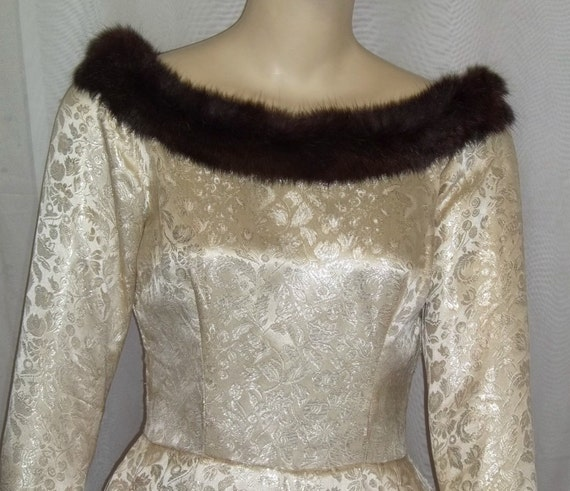 Vintage 1940's Silk Mink Fur Brocade Dress Long Go