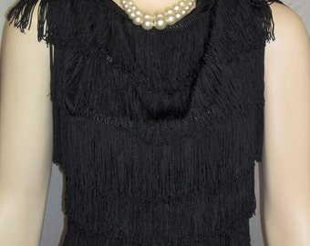 Vintage 1950s Black Fringe Tap Jazz Dance Costume Top and Shorts