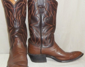 Vintage Brown Leather Hyer Olathe KS Cowboy Boots Mens 7D Western Stacked Heel