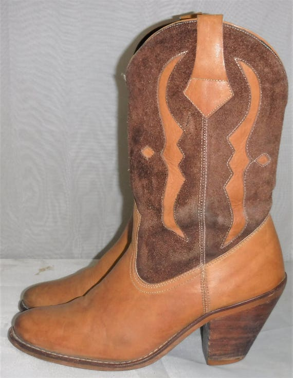 Brown Western Tan 6 B 1 Short Cowboy BOHO Women's Boots Leather 2 Vintage Suede SqYUg5qv