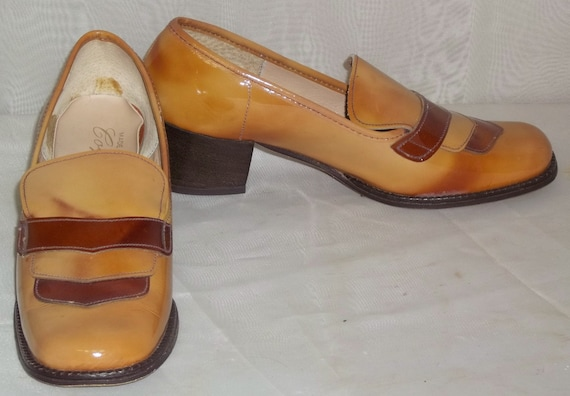 Vintage Coquette Loafers Patent Leather Heels Shoe