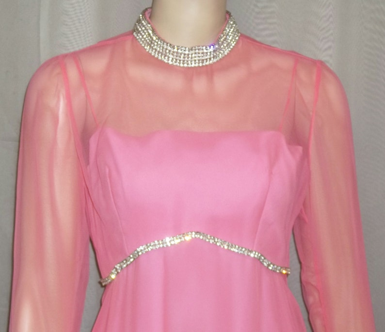 Vintage 1970/'s Long Rose Taft Couture Fashions PInk Rhinestone Maxi Dress Small