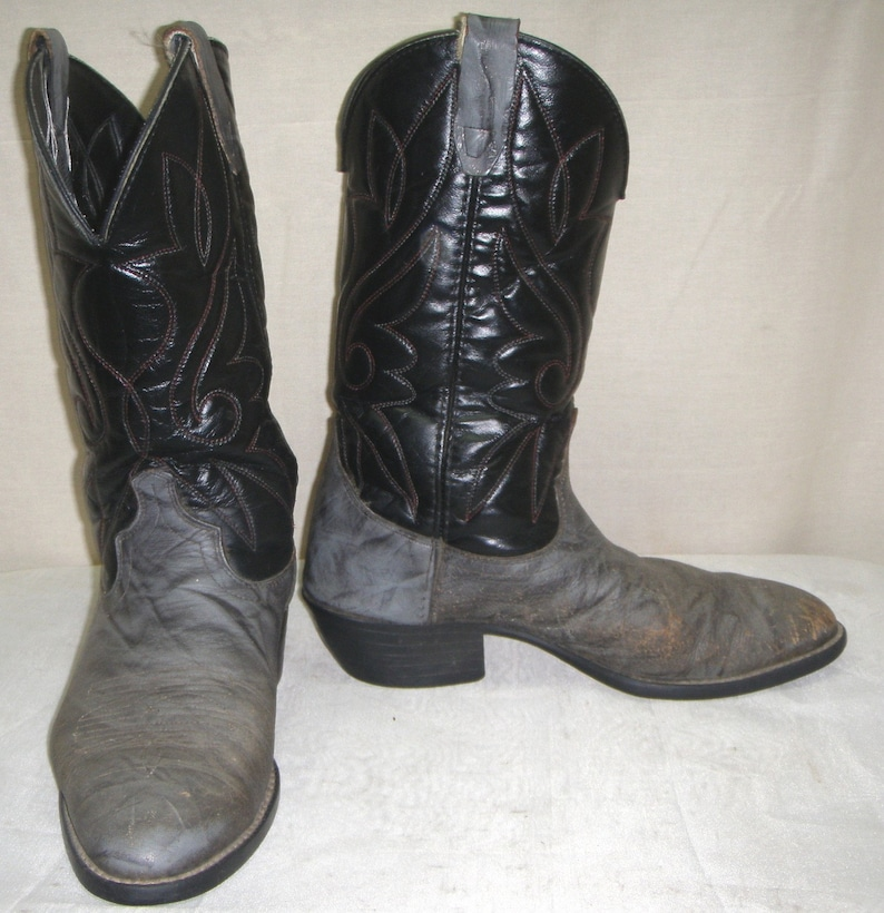 0eeca74bc55 Vintage Leather Mens Cowboy Western Boots 8 EE Two Tone