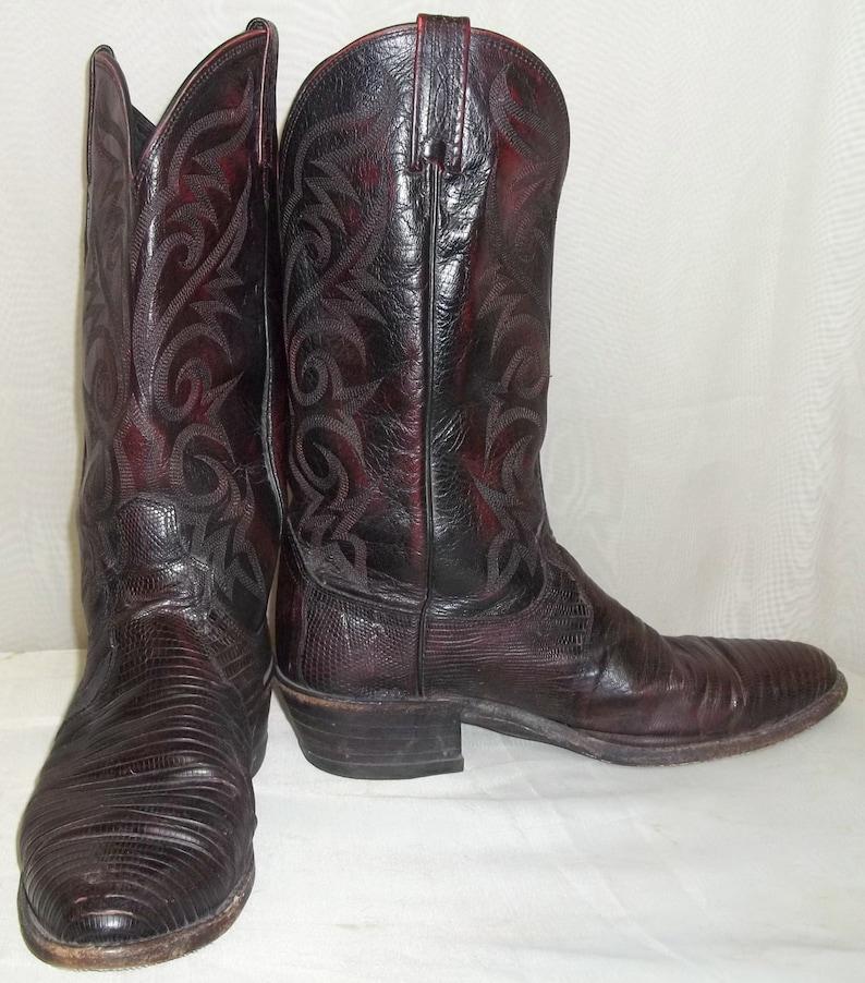 2f2dbb10a8f Vintage Dan Post Mens Lizard Leather Burgundy Cowboy Western Boots 8 1/2 EW