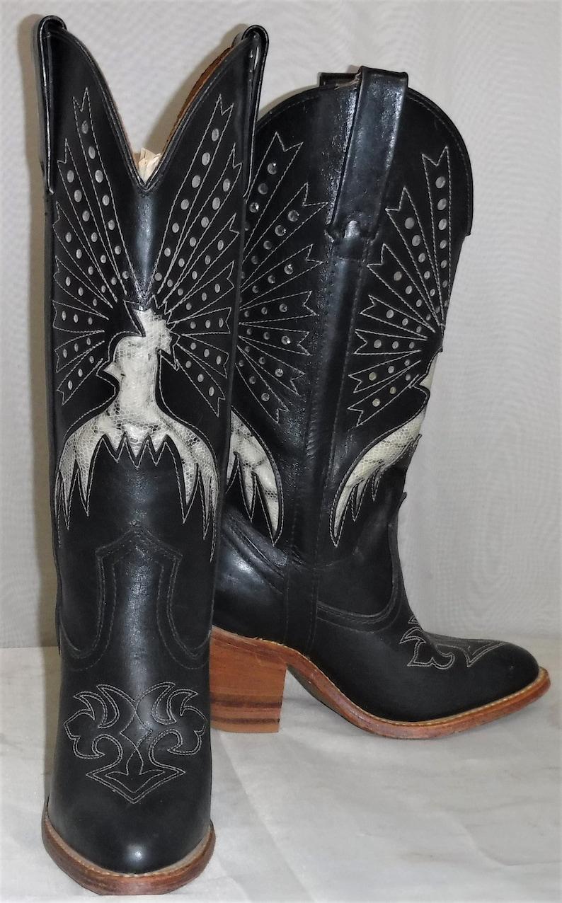 2e30bea6661 Vintage Miss Capezio BOHO Tall Leather Inlaid Eagle Cowboy Boots Women's 5  1/2 M Black Grey