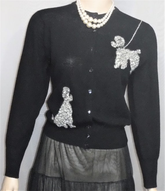 Vintage 1950's Poodle Knit Black Cardigan Sweater