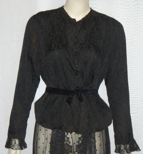 Vintage Edwardian Victorian Era Lace Mourning Skir