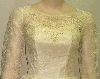 Vintage 1960's Wedding Dress Gown Full Circle Princess Small Lacy Lacey Lace Flowers Sequines Seed Faux Pearls