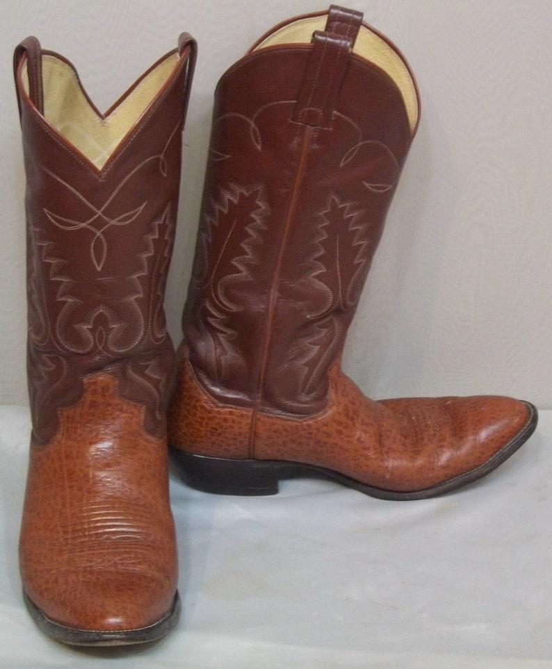 a98e37ab8ba Vintage Mens Leather Sanders Cowboy Western Boots 8 1/2D Womens 10 1/2