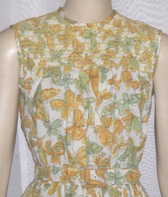 Vintage 1950's Butterfly Women's Day Dress Small M