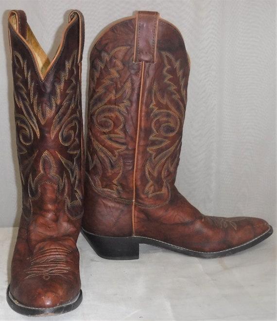 vintage justin golden tan leather cowboy boots mens size 7.5EE