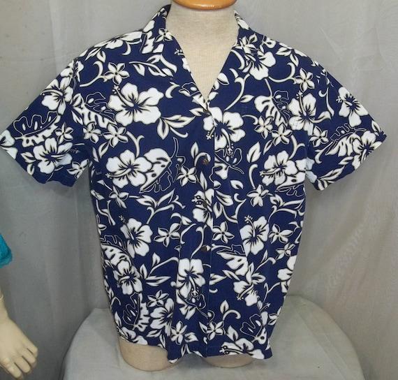 Chemise hawaïenne M moyen bleu blanc Floral imprimé Hawaï de Hilo Hattie homme EUC
