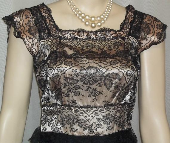 Vintage 1930's Kalmour Long Gown Satin Lace Dress