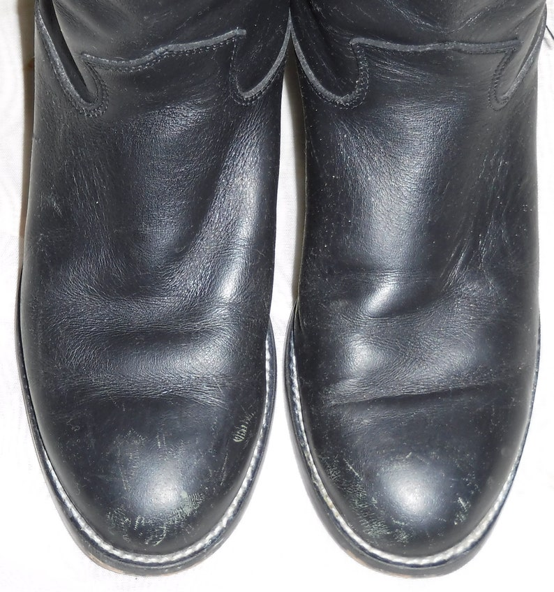 Vintage Youth Children/'s Boy Girl Justin Size 13 12 Cowboy Western Leather Boots Black