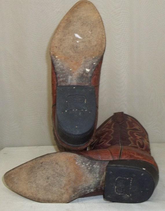 Vintage heren Rudel krokodil lederen Cowboy Western laarzen 8 E