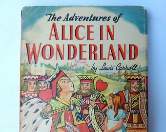 The Adventures of Alice in Wonderland, Lewis Carrroll,  1945 book, illustrated, Whitman Publishing, vintage book