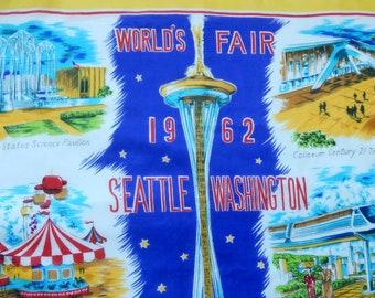 World's Fair 1962 Seattle scarf, vintage scarf, World's Fair souvenir, Century 21 Exposition, accessory, collectible