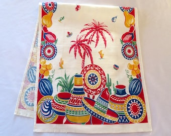 Southwest Native Lizards Tapestry Table Runner Wall Hanging Red Blue 13 x 72