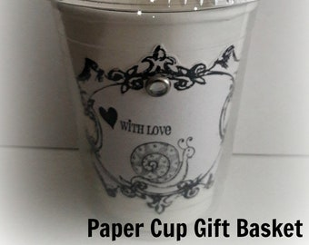 NEW Paper Cup Gift Basket - Snail, With Love Sentiment