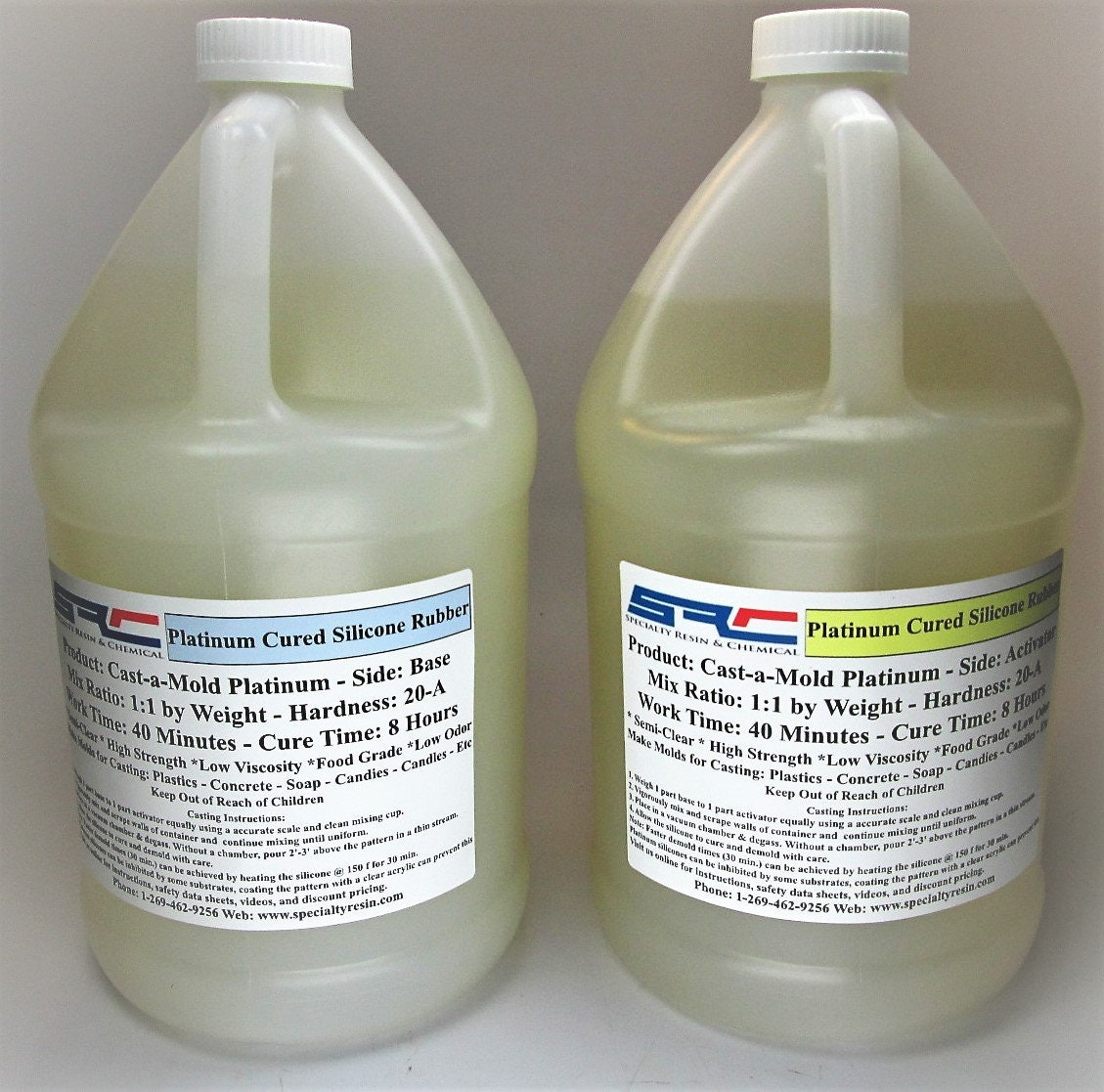 RTV Silicone Rubber For Mold Making: 1 to 1 Mix Ratio Food Grade 2 Gallons