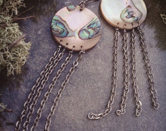 Abalone Silver Chain Jellyfish Earrings -BENEATH