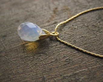 SEA WATER DROP- Sea Opal, Gift For Her,faceted opalite, milky,iridescent, tear drop, ocean, simple everyday, glowing, silky, gold chain