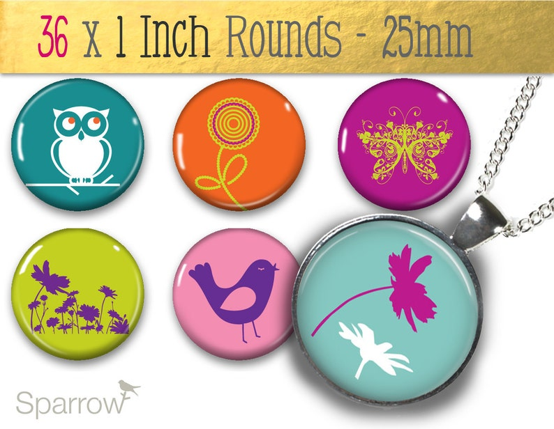 25 mm Inch Quirky Nature Instant Download One Bottle Cap Digital Collage Download 1x1 Round Pendant Images Buy 2 Get 1 Free