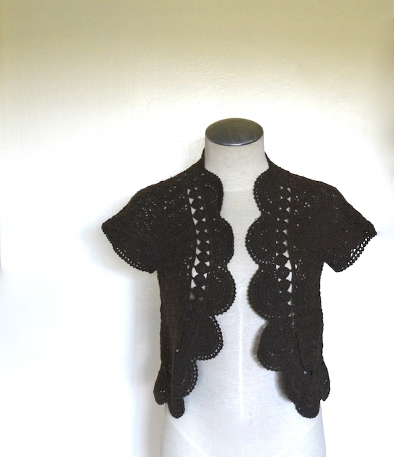 Vintage Brown Crochet Bolero Cardigan by Willi Smi