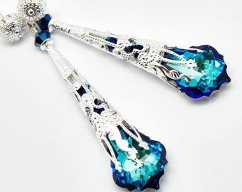 Blue Earrings, Long Earrings, Chandelier Earrings, Steampunk Victorian Filigree Jewelry, Bridal Bridesmaids, Swarovski Earrings, Royal Blue