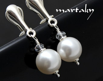 CLIP ON Earrings White Swarovski Pearls 10 mm Sterling Silver Bridal Bridesmaids Clip On Wedding Clip On Classic Pearl Jewelry