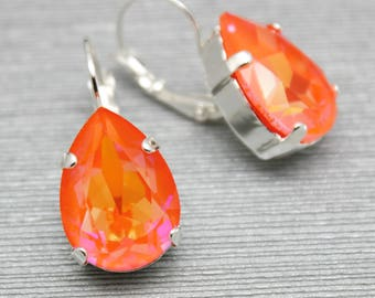 Pink Orange Earrings, Pear Dangle Drop Earrings, Neon Modern Jewelry,Gold or Silver, Swarovski Crystal, Bridal, Bridesmaids, Fashion Earring