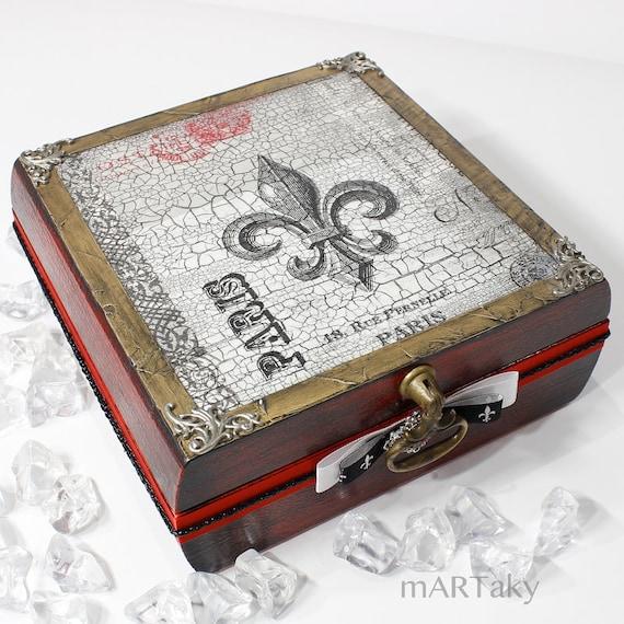 Cottage French Decoupage Jewelry Box Shabby Chic Fleur De Lis Paris Box,Vintage Style Treasures Trinket Memories Recipe Organizer Storage