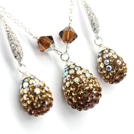 Gemstone Drop Earrings READY TO SHIP Wire Wrapped Champagne Gold Crystal and Sterling Silver Earrings