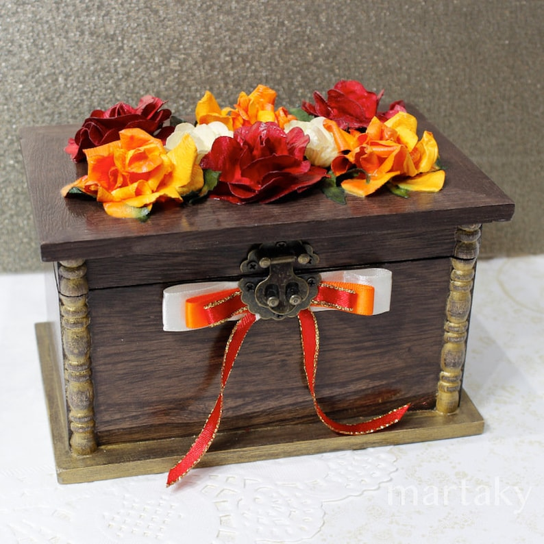Gift for Mother Her Home Decor Box Recipe Keepsake Storage Flower Rose Red Orange Rose Petal Cottage Chic Handcrafted Jewelry Box