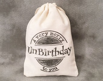 Unbirthday - Over the Hill Gift Bags - Personalized Bags - Custom Design - Unbirthday Gift Bags - Unbirthday Party - Set of 10 Muslin Bags