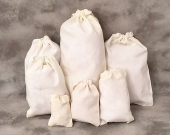 SAMPLES Small Cotton Muslin Bags - Set of 5 - Organic - Single or Double Drawstring - Product Packaging - Party Favors - Weddings - Gifts
