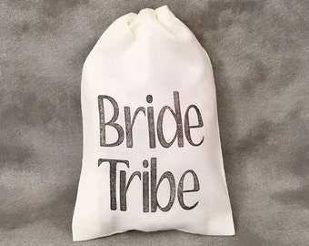 Bride Tribe - Bachelorette - Bridesmaids Gifts - Bridal Party Gifts - Wedding Rehearsal - Bridal Party Totes - Set of 10 Cotton Bags