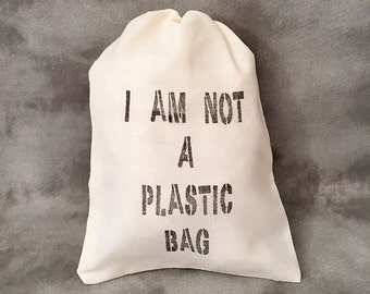 Not a Plastic Bag - Recycle - Go Green - Upcycled - Reusable Grocery Bag - Custom Party Favors - Personalized Bags - Set of 10 Cotton Bags